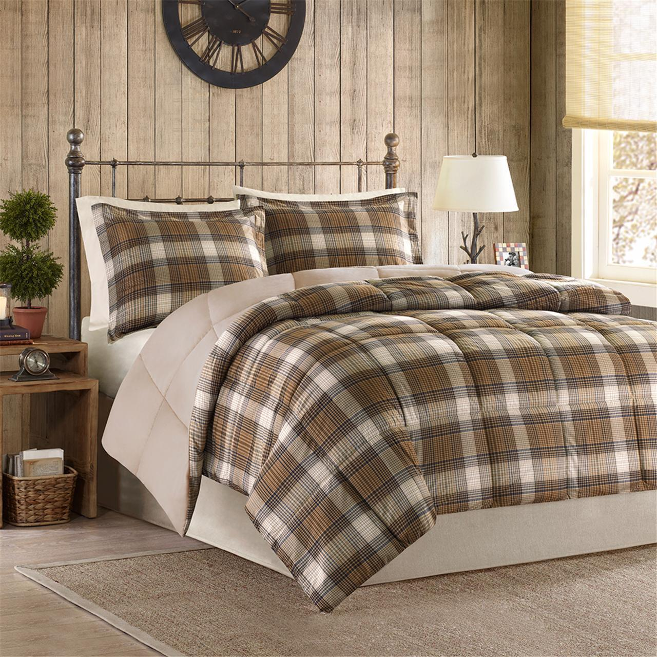 Bedding Woolrich White River King Size Bed Comforter Set Plaid 3 Piece Grey Blue Home Furniture Diy Lugecook Com Br