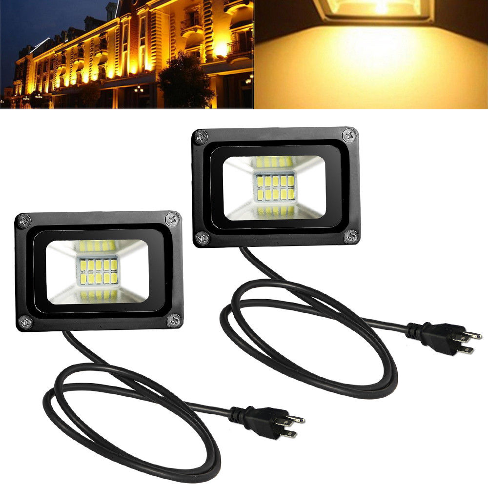 2pcs 10W LED Flood Light Warm White with US Plug 110V