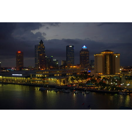 Peel-n-Stick Poster of Florida Skyline City Tampa Bay Tampa Night Poster 24x16 Adhesive Sticker Poster Print - Party City Tampa Hours