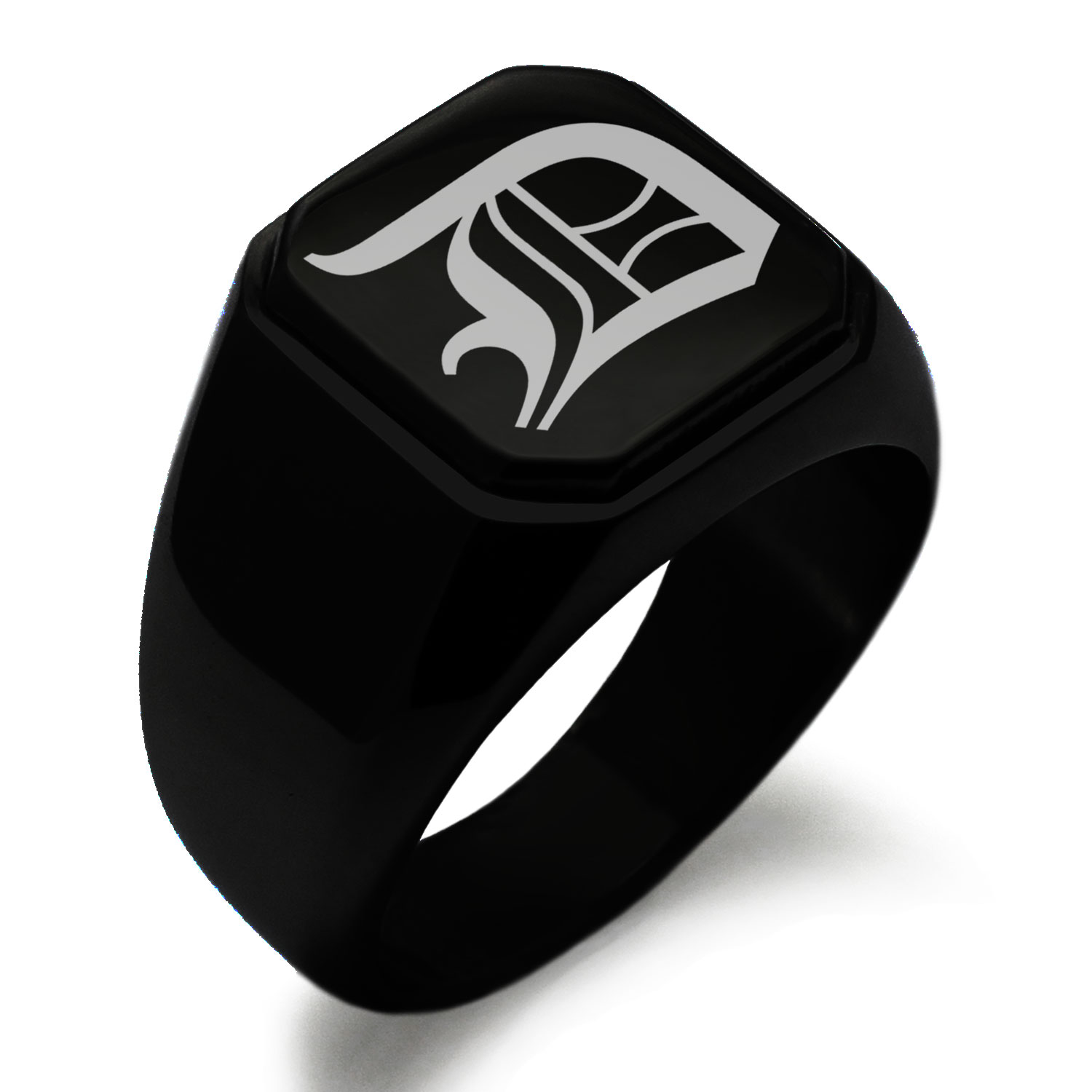 Tioneer Stainless Steel Letter D Alphabet Initial Old English Monogram Chevron Pattern Biker Style Polished Ring