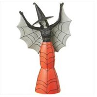 "Ganz 12.5"" Glittered Spider Witch Halloween Figure - Black/Orange"