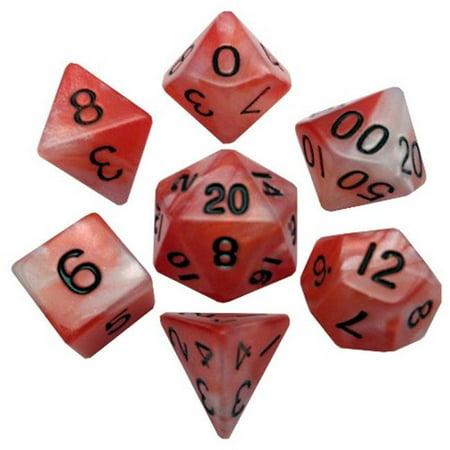 Metallic Dice Games LIC110 D-s combin-s d'attaque de 16 mm, ensemble de 7 - rouge et blanc avec chiffres noirs - image 1 de 1