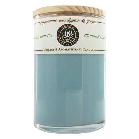 Terra Essential Scents - Massage & Aromatherapy Soy Candle Peppermint, Eucalyptus & Ginger - 12 oz.