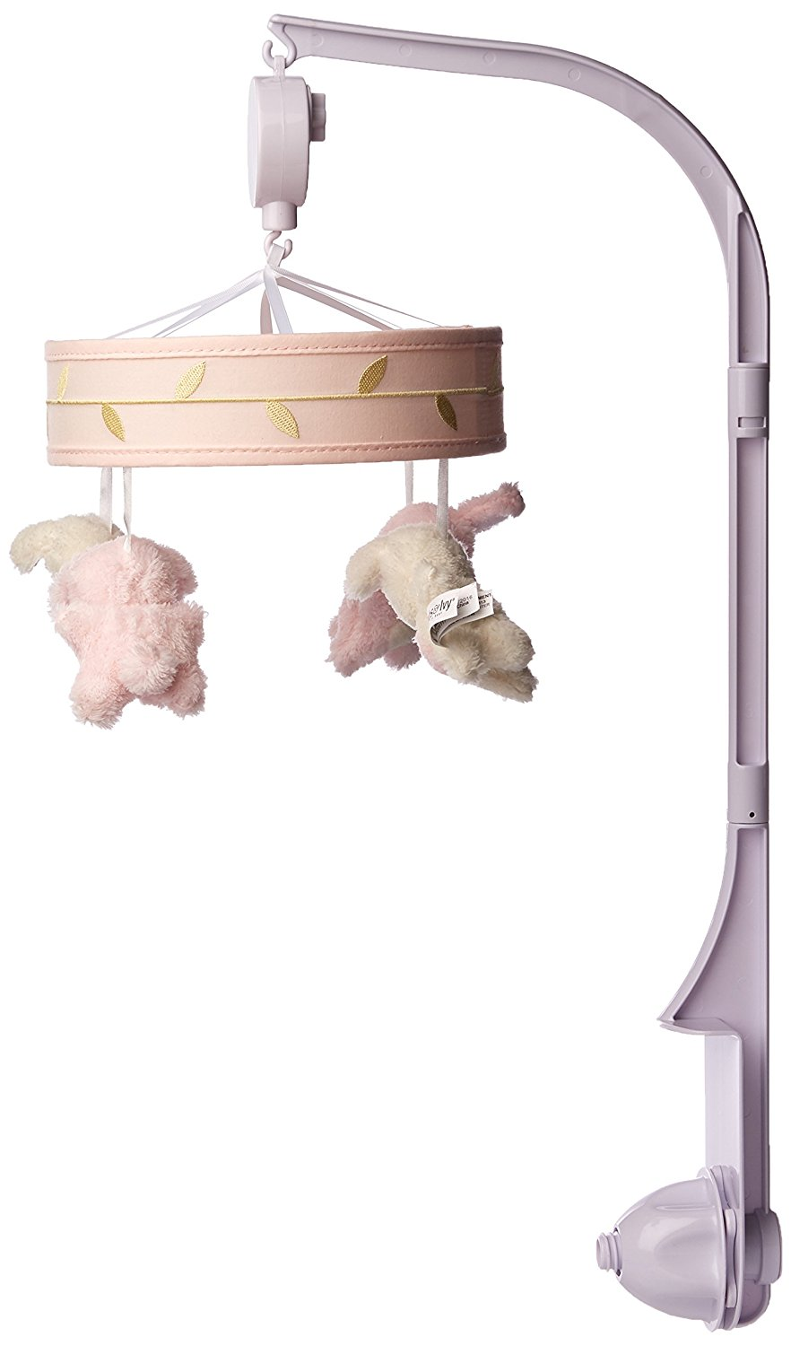 Click here to buy Confetti Heart Bunny Musical Mobile, Pink Gold, The Confetti Musical Mobile features four little bunnies with... by Lambs %26 Ivy.
