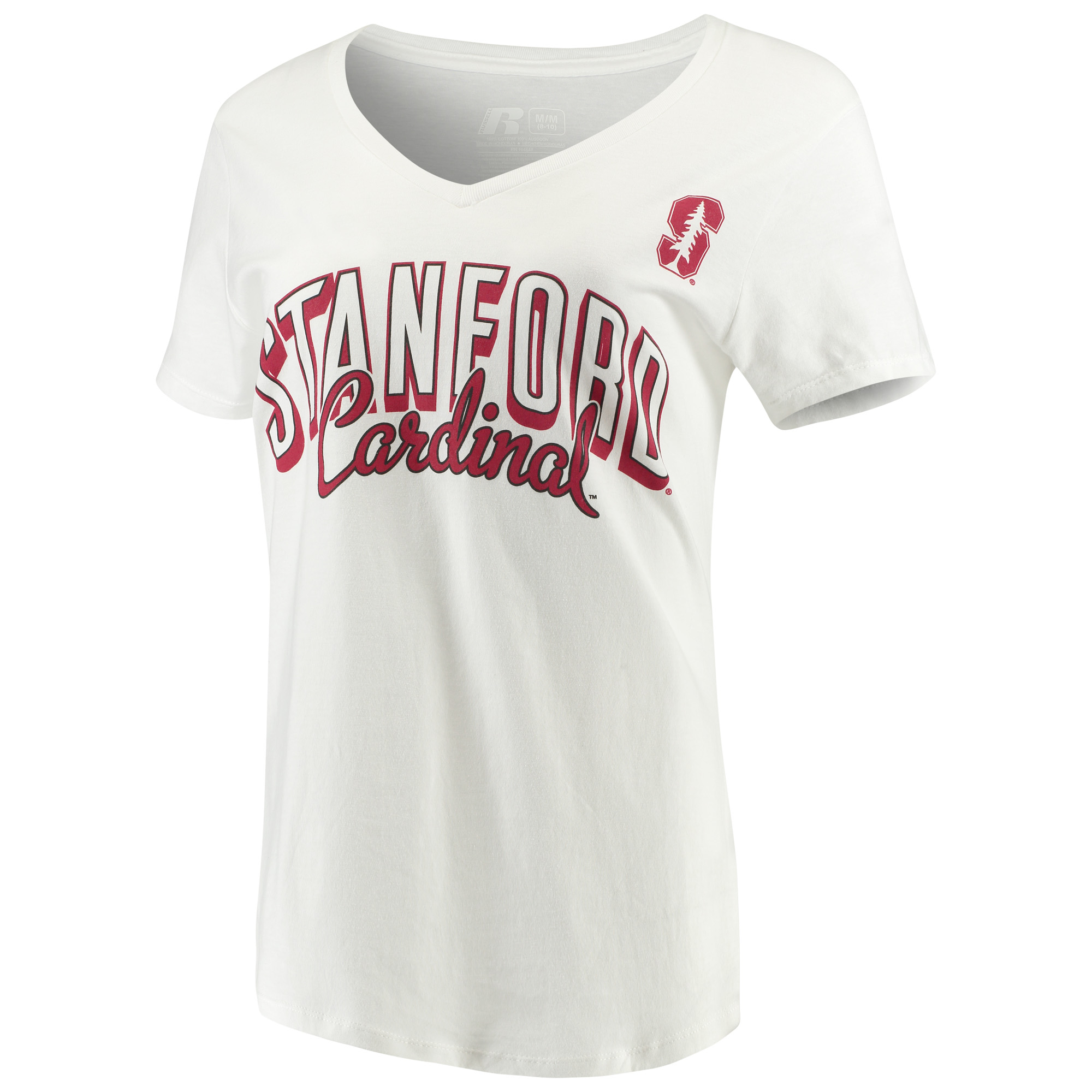 Women's Russell White Stanford Cardinal Arch V-Neck T-Shirt