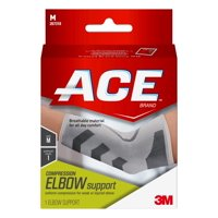 ACE Brand Compression Elbow Support, Medium, White/Gray, 1/Pack