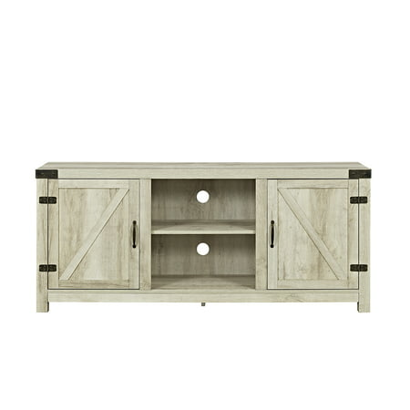 "Manor Park Modern Farmhouse Barn Door TV Stand for TV's up to 64"" - White Oak"