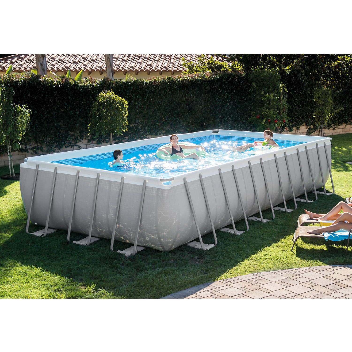 """Intex 24' x 12' x 52"""" Ultra Frame Rectangular Above Ground Swimming Pool with Sand Filter Pump, BOX 1"""
