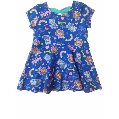 Infant Toddler Girls Paw Patrol Blue Best Pups Ever Skye Everest Dress Outfit](Paw Patrol Dress)