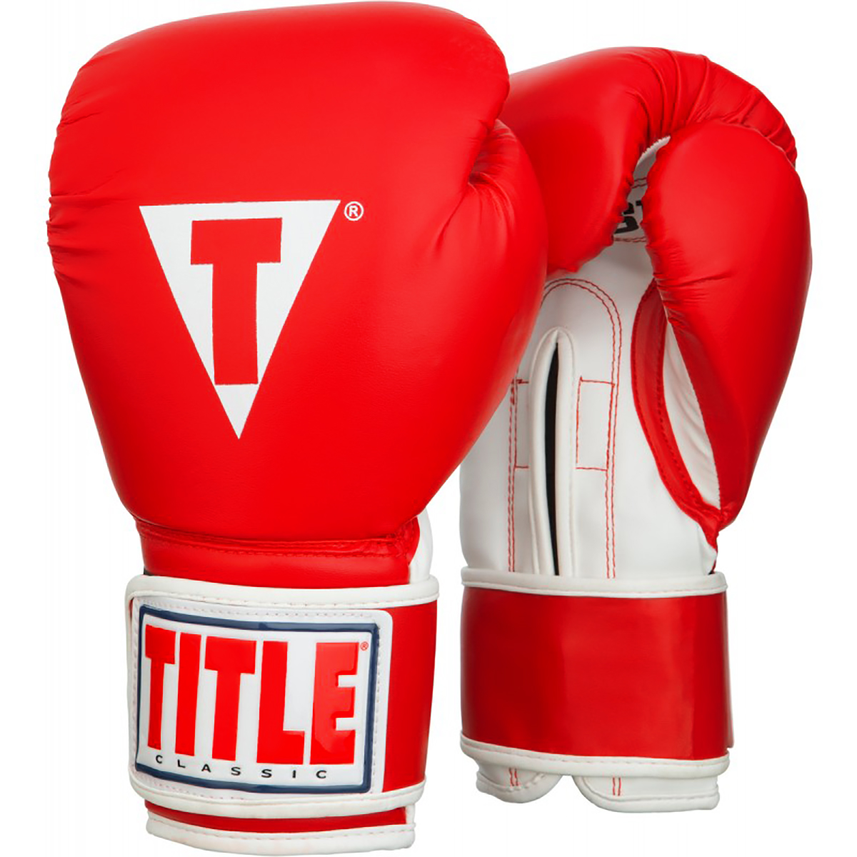 Title Boxing Classic Pro Style Hook and Loop Training Gloves - Red/White