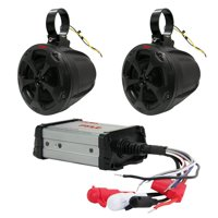 Pyle PLUTV42CH - 800W WaterproofMarine Speakers + 2 Ch. Rated Amplifier - ATV, UTV, 4x4, Jeep, Wired RCA, AUX, and MP3 Audio Input Cable, for Boat Stereo Speaker & Other Watercraft