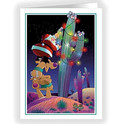 Cactus Christmas Tree Decorating - 18 Western Christmas Cards & Envelopes -40004