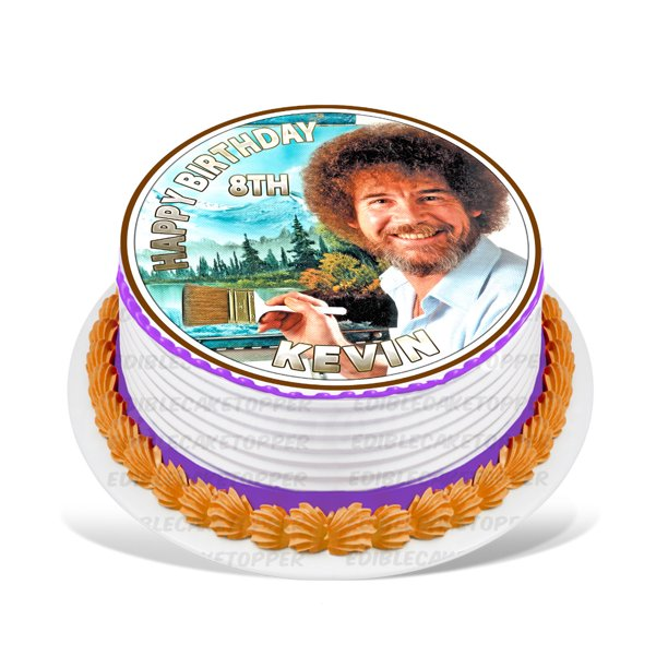 Bob Ross Edible Cake Image Topper Personalized Picture 8 Inches Round Walmart Com Walmart Com