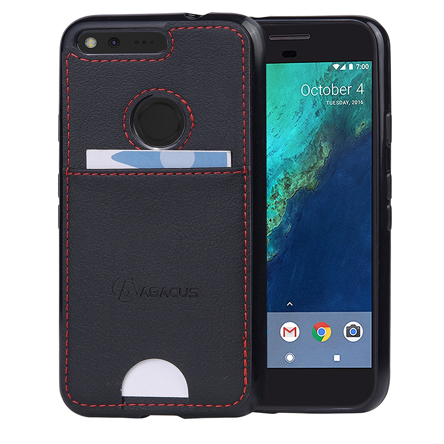 Abacus24-7 Google Pixel Case, Slim Wallet Bumper Cover with Card Pocket, Black