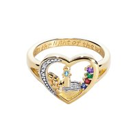 Family Jewelry Personalized Mother's 18K Gold over sterling Lighthouse Birthstone Ring