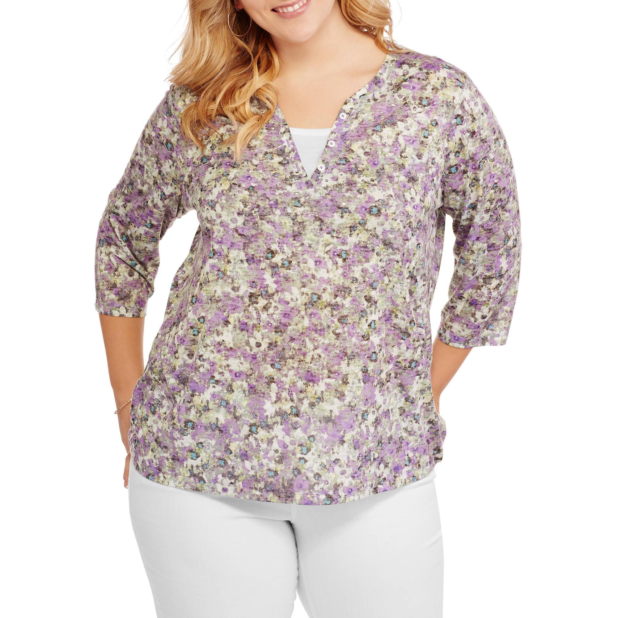 Erika Women's Plus Embellished Twofer Shirt