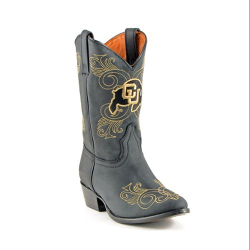 Gameday Western Girls Black Leather University Of Colorado Western Gameday Cowboy Boots (Size 5) 910c2f