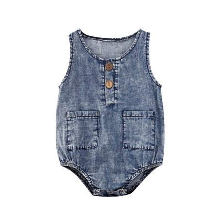 Unisex Infant Sleeveless Romper Summer Baby Girls Boys Round Collar Pocket Denim Cotton Jumpsuit Clothing - image 1 de 4