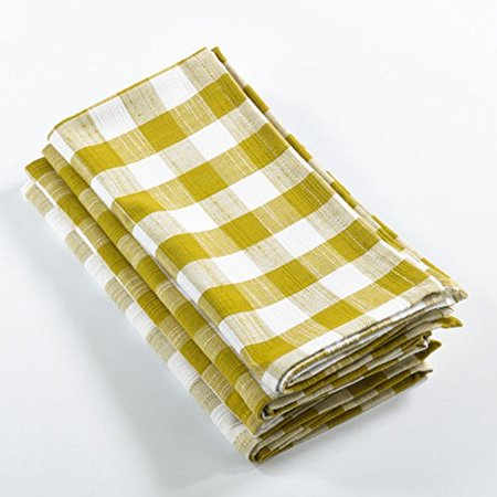 Fennco Styles Gingham Plaid Cotton Napkins - 6 Colors - Set of 4 (Chartreuse) (Lilac Napkins)