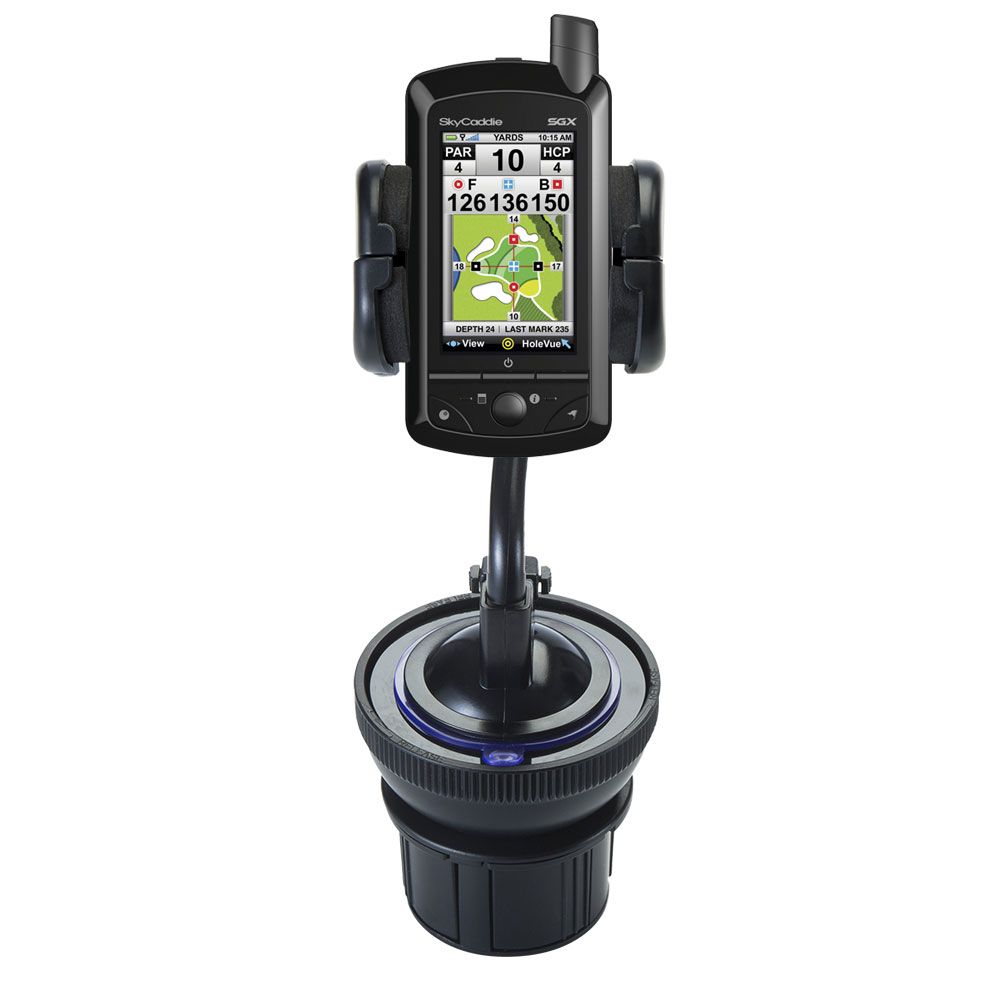 Unique Auto Cupholder and Suction Windshield Dual Purpose Mounting System for SkyGolf SkyCaddie SGX - Flexible Holder System Includes Two Mount Option