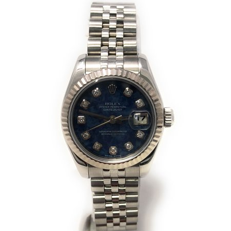 Rolex Datejust 179174 Blue Sodalite Diamond dial and an 18kt White Gold Fluted Bezel (Certified Pre-Owned)