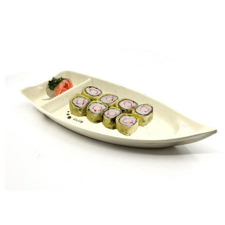 - The Elixir Deco Japanese Resaurant Sushi Boat Sushi Sashimi Maki Roll Serving Boat Tray with Sauce Compartment Plate