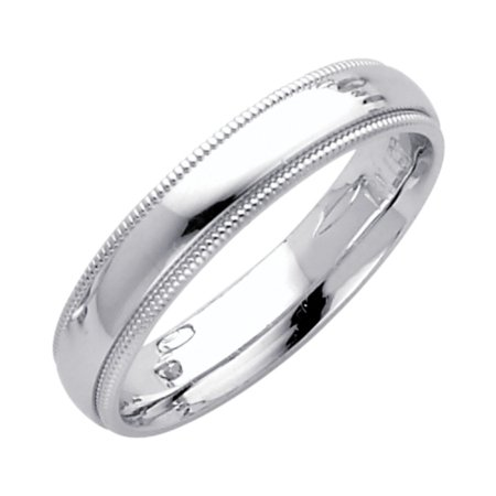 Jewels By Lux 14K White Gold Solid Heavy Weight 4mm Plain Traditional Comfort Fit Migraine Wedding Ring Band Size 5