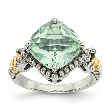 Sterling Silver Two Tone Silver And Gold Plated Sterling Silver w/14ky Green Quartz Cushion Ring - image 3 de 3
