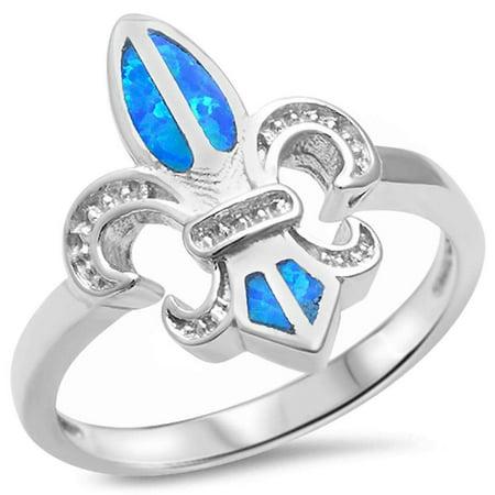 Sterling Silver Lab Created Blue Opal Fleur De Lis Ring Sizes 5-10 - Fleur De Lis Wedding Rings