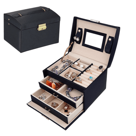 3-Layer Travel Jewelry Case Lockable Jewelry Box Leather Mirrored Organizer Gift for Women & Girls Holder for Earring Ring Necklace & Bracelet (Black) ()