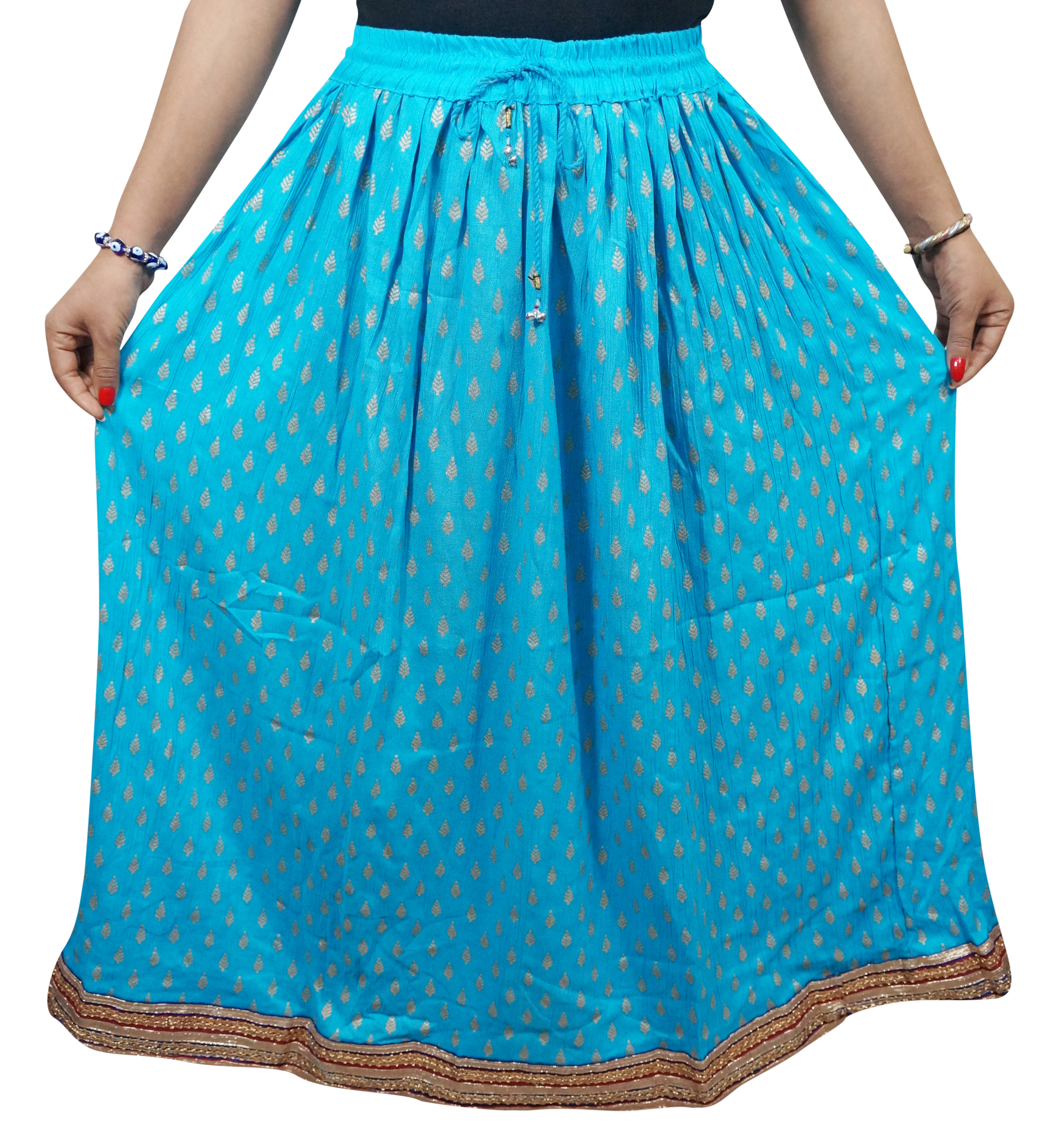 Mogul Women's Long Skirt A-Line Blue Rayon Summer Holiday Skirts