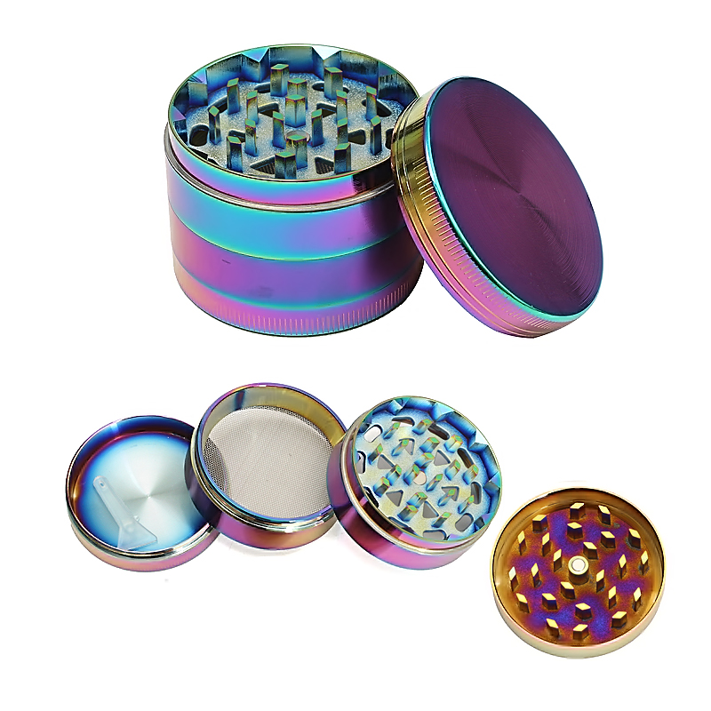 52MM Metal Zinc Alloy Tobacco Spice Herb Grinder Crusher 4 Layer Rainbow Dazzle Color by