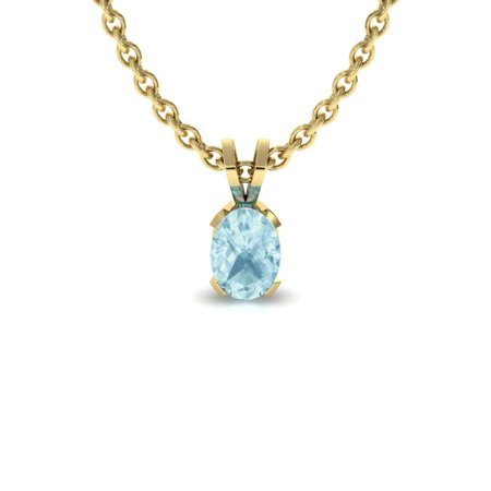 SuperJeweler 1/2 TGW Oval Shape Aquamarine Necklace In 14K Yellow Gold Over Sterling Silver, 18 Inches