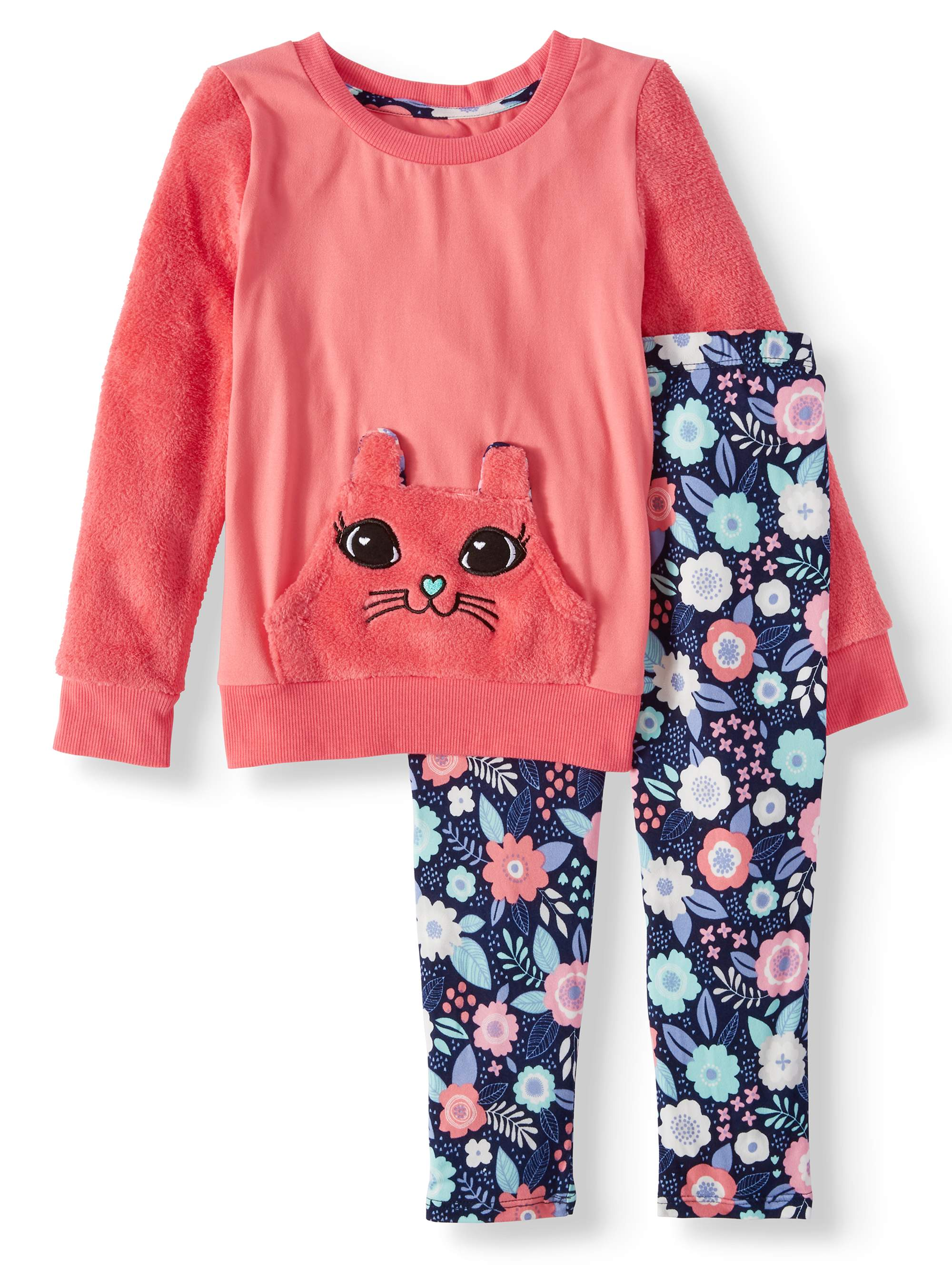 Embroidered Bunny Tunic and Printed Legging, 2-Piece Outfit Set (Little Girls)