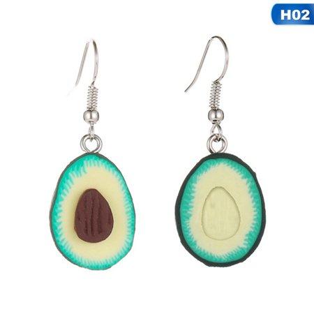 AkoaDa Fashion Green Polymer Clay Avocado Shape Pendant Ornaments Dangle drop Earrings Accessories Gift Art Clay Dangle Earrings