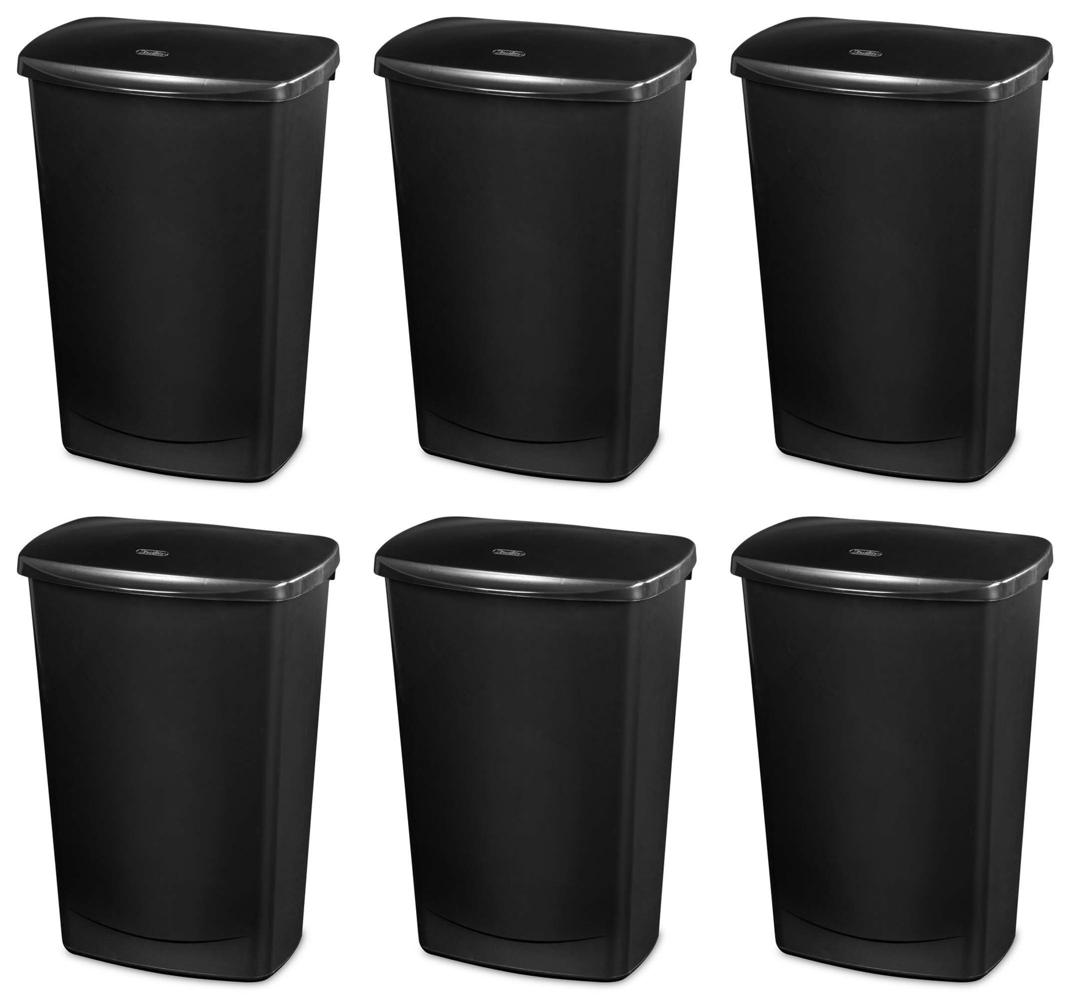 Sterilite 10919006 11.4 Gallon Lift-Top Covered Wastebasket Trash Can, 6 Pack by Sterilite