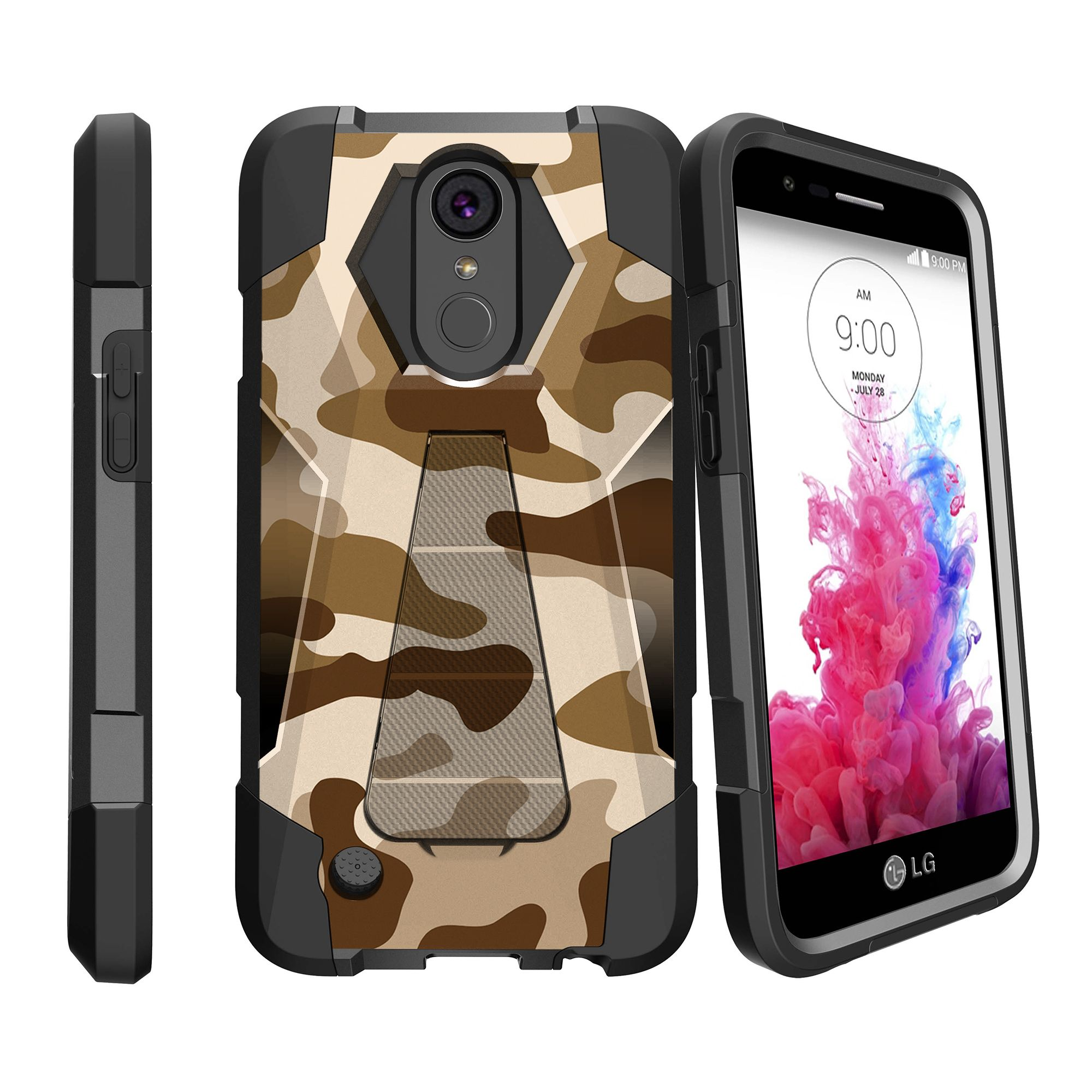 Case for LG K20 | K20 Plus | K10 2017 Version [ Shock Fusion ] Hybrid Layers and Kickstand Case Camo Collection