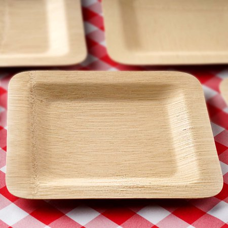 Efavormart 50 Pcs - Sleek Disposable Natural Bamboo Square Plates For Wedding Events Birthday Party Restaurant Dining Tableware