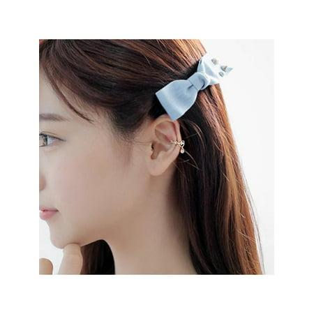 Lavaport 1PC Women Crystal Rhinestone Water Drop Pendant Ear Cuff Wrap Clip Cartilage (Silver Pink Rhinestone Earrings)