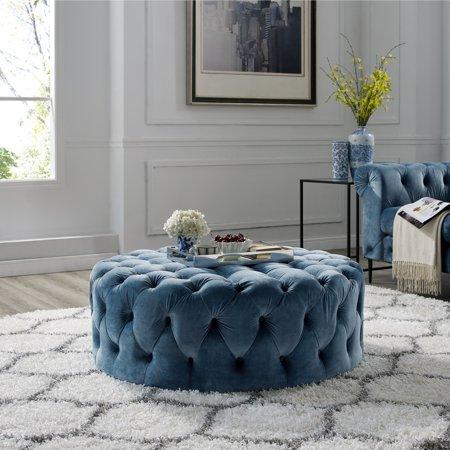 Stupendous Corvus Tufted Velvet Round Ottoman With Casters Ibusinesslaw Wood Chair Design Ideas Ibusinesslaworg