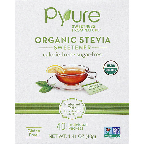 Pyure Organic Stevia Sweetener, 40 count, 1.41 oz, (Pack of 6)