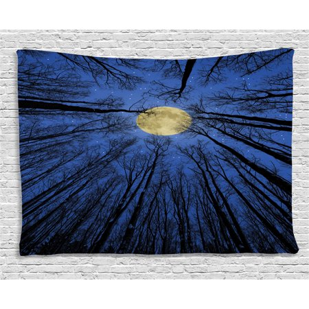 Forest Home Decor Tapestry  Full Moon Illumination In Woods Star Night Heavenly Lunar Treetops Up Space Art  Wall Hanging For Bedroom Living Room Dorm Decor  80W X 60L Inches  Blue  By Ambesonne