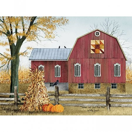 Autumn Leaf Quilt Block Barn Poster Print by Billy Jacobs (16 x 12) ()