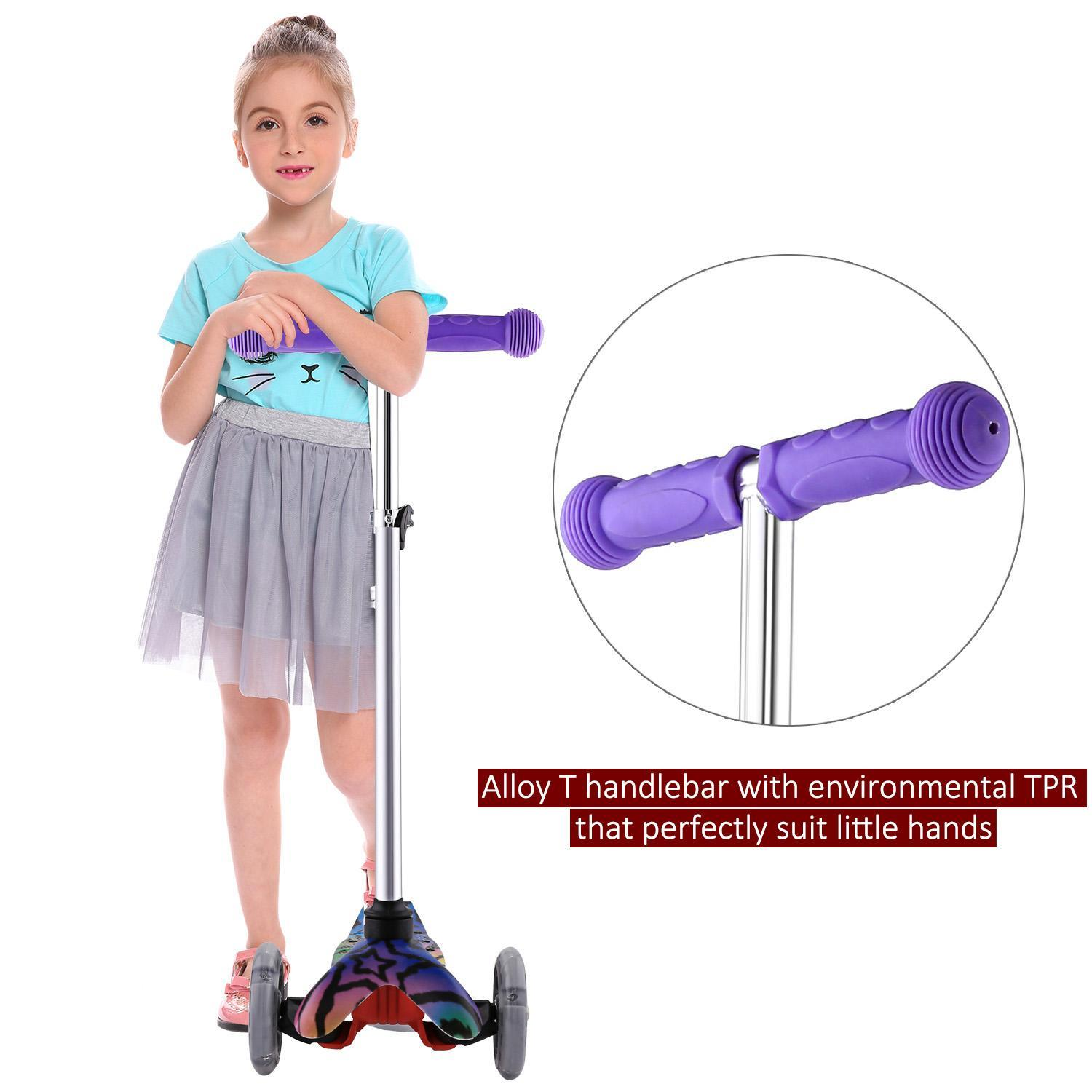 Kick Scooter for Kids 3 Wheel Scooter, 4 Adjustable Height, Lean to Steer with PU LED Light Up Wheels for Children from 3 to 7 Years Old ROJE