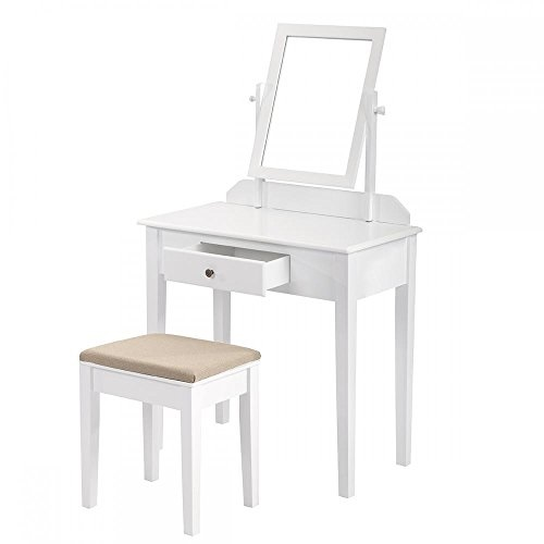 Makeup Vanity Table Dressing Table Set Wood Jewelry Table With Stool