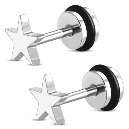 Fake Ear Plug - Stainless Steel Shining All Star Faux Fake Cheater Ear Plugs Gauge, Pair