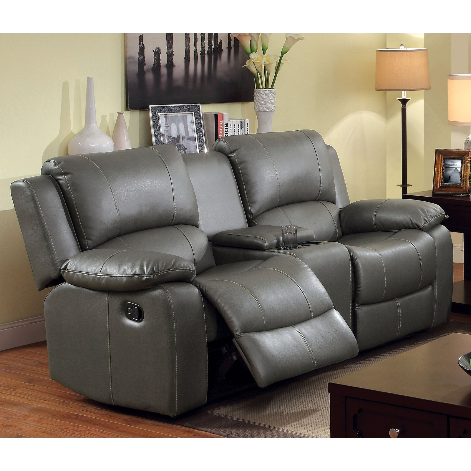 Furniture of America Rathbone Recliner Loveseat with Center Console