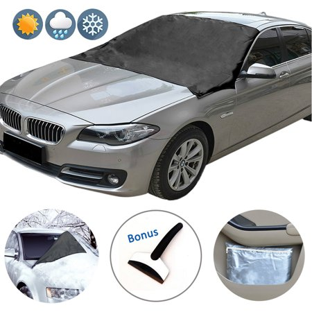 iClover Car Windshield Snow Cover with Magnetic, Ice Frost Rain Resistant Edges and Storage Bag Outdoors Car Cover Sun Shade Protector Fits Most Car,SUV,Van(84''x