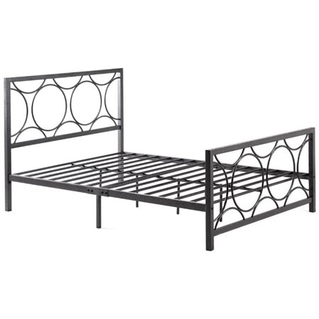 - Pemberly Row Queen Metal Bed in Black and Silver