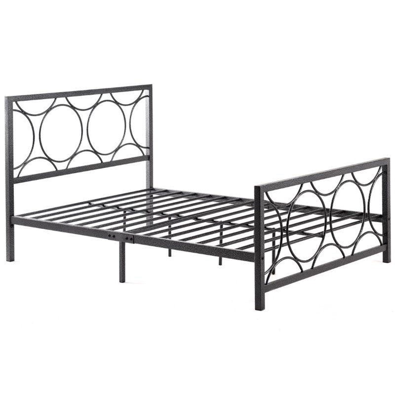 Pemberly Row Queen Metal Bed in Black and Silver